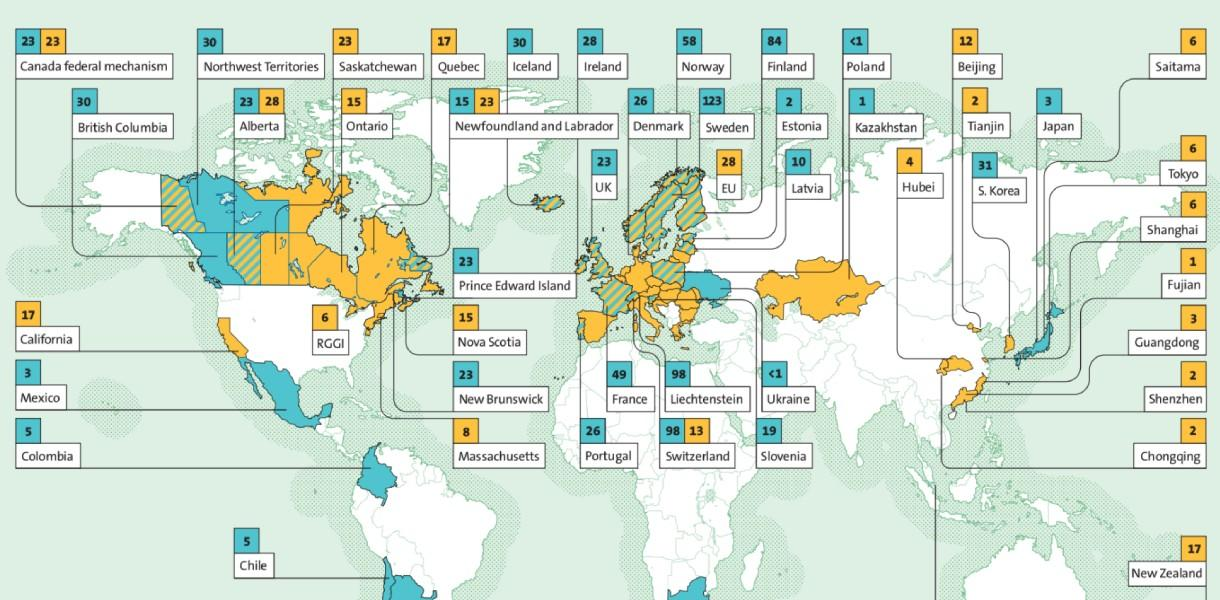 Map of explicit carbon prices around the world in 2020